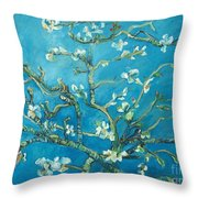 Almond Blossom Branches Print Throw Pillow