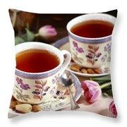 Almond Tea For Two Throw Pillow