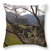 Almond Tree And Monastery   #9815 Throw Pillow