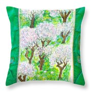 Almond Trees And Leaves Throw Pillow by Augusta Stylianou