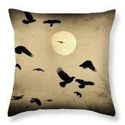 Almost Full Moon And Crows Throw Pillow