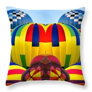 Almost Inflated Hot Air Balloons Mirror Image Throw Pillow