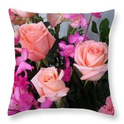 Almost Pink Flowers Throw Pillow