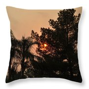 Almosts Gone Now Sunset In Smoky Sky Throw Pillow