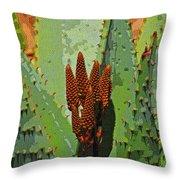 Aloe Vera's New Buds Throw Pillow