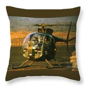 Aloha  Oh-6 Cayuse Light Observation   Helicopter Lz Oasis Vietnam 1968 Throw Pillow