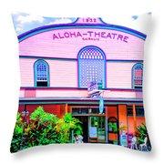 Aloha Theatre Kona Throw Pillow