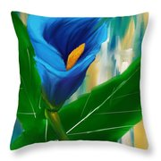 Alone In Blue- Calla Lily Paintings Throw Pillow
