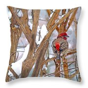 Alone In The Snow Storm Throw Pillow
