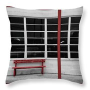 Alone - Red Bench - Windows Throw Pillow
