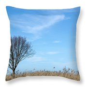 Alone Tree In The Reeds Throw Pillow