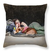 Alone With Her Dog Throw Pillow