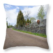 Along An Old Fashioned Road Throw Pillow