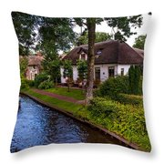 Along The Canal. Giethoorn. Netherland Throw Pillow
