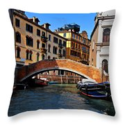 Along The Canals Of Venice Throw Pillow