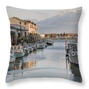 Along The Docks Throw Pillow