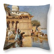 Along The Ghats Mathura Throw Pillow