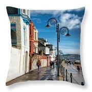 Along The Promenade - Lyme Regis Throw Pillow