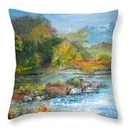 Along The Riverbank Throw Pillow