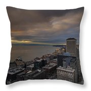 Along The Seattle Waterfront Throw Pillow
