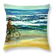 Along The Surf Throw Pillow
