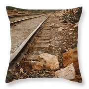 Along The Tracks Throw Pillow