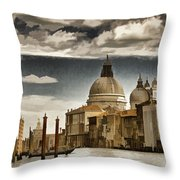 Along The Venice Canal Throw Pillow