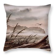 Along The Wild Shore Throw Pillow