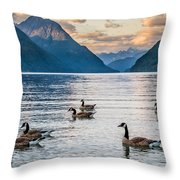Alouette Lake Geese Throw Pillow