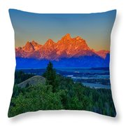 Alpenglow Across The Valley Throw Pillow