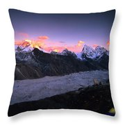 Alpenglow Lights The Summit Of Mt Throw Pillow