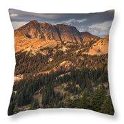 Alpenglow On Brokeoff Mountain Throw Pillow