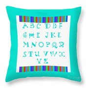Alphabet Blue Throw Pillow