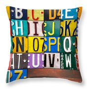 Alphabet License Plate Letters Artwork Throw Pillow