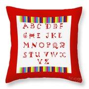 Alphabet Red Throw Pillow