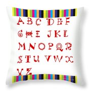 Alphabet With Multicolor Throw Pillow