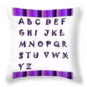 Alphabet With Purple Stripes Throw Pillow