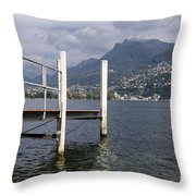 Alpine Lake And A Jetty Throw Pillow