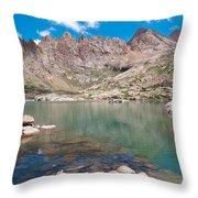 Alpine Lake Beneath Sunlight Peak Throw Pillow