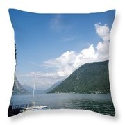 Alpine Lake With A Cypress Tree Throw Pillow