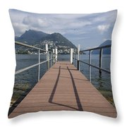 Alpine Lake With A Pier Throw Pillow