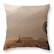 Alpine Lake With A Sailing Boat Throw Pillow