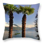 Alpine Lake With Island Throw Pillow