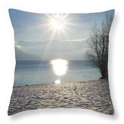 Alpine Lake With Snow Throw Pillow