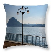 Alpine Lake With Street Lamp Throw Pillow