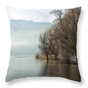 Alpine Lake With Trees Throw Pillow