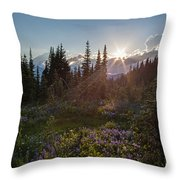 Alpine Meadow Sunrays Throw Pillow