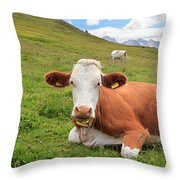 Alpine Pasture With Cow Throw Pillow