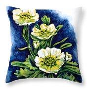 Alpine Ranunculus Throw Pillow by Zaira Dzhaubaeva