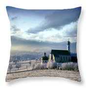 Alpine Scenery With Church In The Frosty Morning Throw Pillow